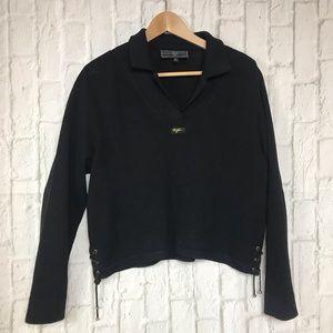 St John Sport Black Knit Wool Blend Collared Vneck